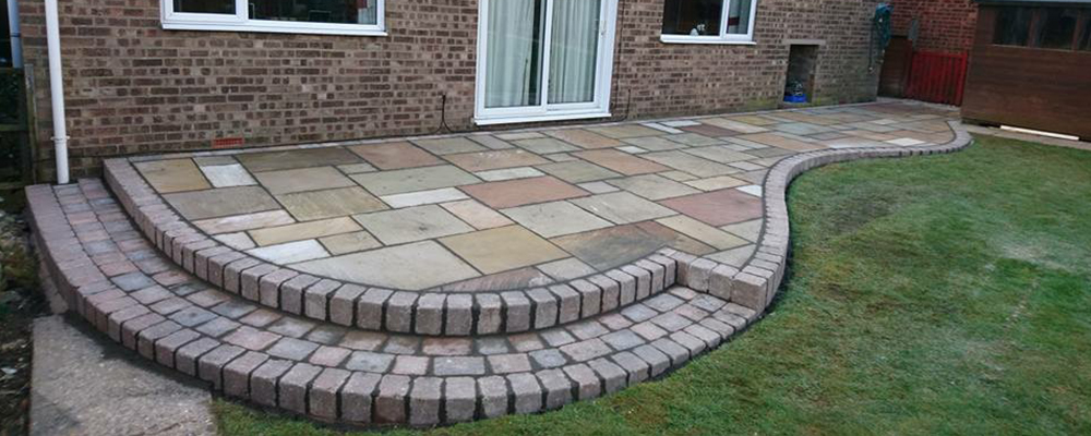 natural stone patio cut to shape