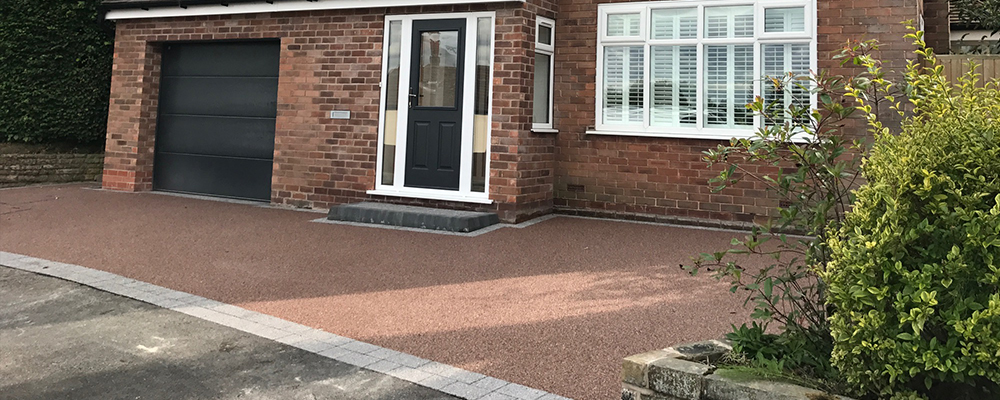 red and silver resin driveway
