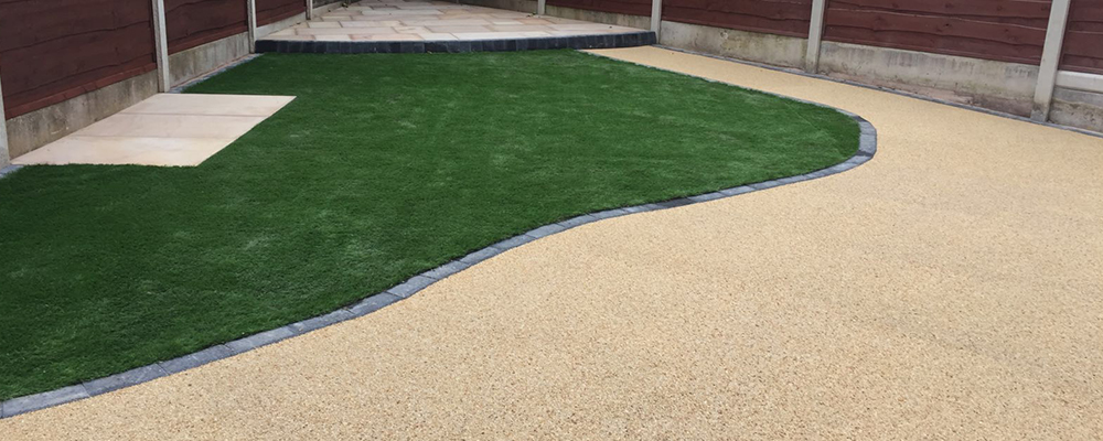 resin path artificial grass and patio